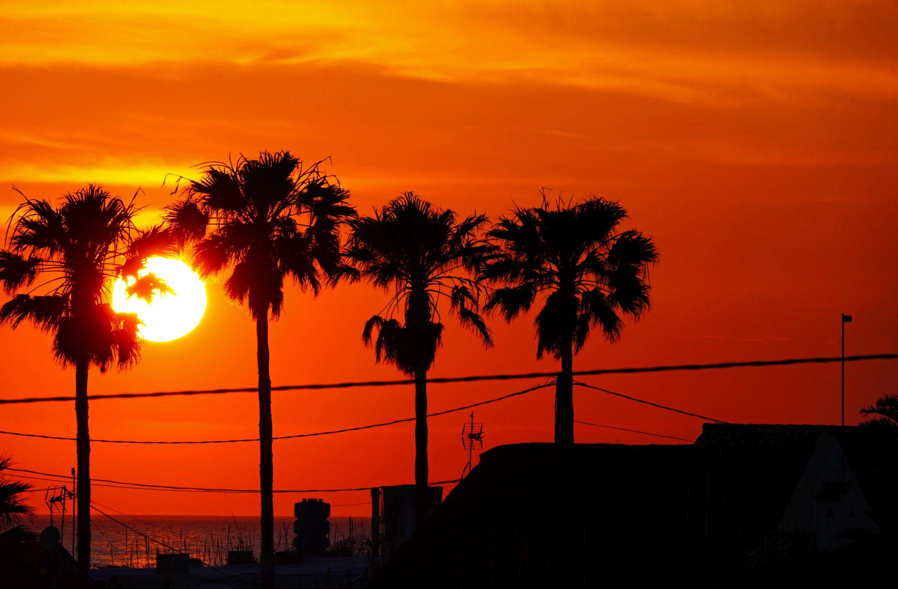 Playa El Palmar bei Sonnenuntergang
